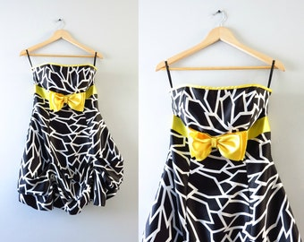 Vintage 80s 90s Prom Dress | Vintage Gunne Sax Black White Satin Bubble Skirt Dress S | 80s 90s Party Dress