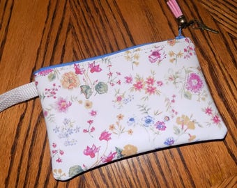 Pastel Floral  on White LEATHER Wristlet Zip Bag
