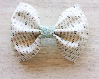 Frappe Collection Jenny Bow. 4 inch Large Bow. Clip or Headband. RTS