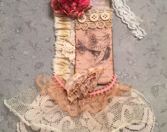 Shabby Vintage, Mixed Media Gift Tag, Romantic, Package Topper, Gift Wrap, Scrapbook, Bow Alternative, Keepsake, Shabby Lace, Assemblage Art