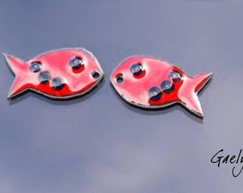 Email sur cuivre - Paire de plaque emaillé petits poissons rouge - marine - breloque -  Gaelys