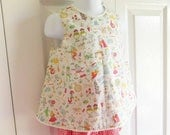 """Vintage look open back """"Molly"""" Top and Bloomers SET for baby or toddler girl - 12 mos to size 6 - Liberty of London """"Gallymoggers"""""""