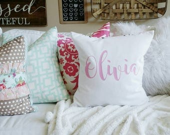 Custom Name Pillow Cover - fits 20x20 - bubble gum pink