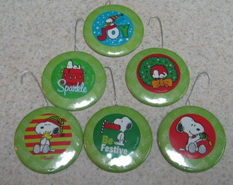 6 ct SNOOPY 2.25 inch flat circle ORNAMENTS new