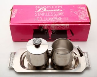 Vintage International Decorator Stainless Holloware Cream and Sugar Server With Tray and Original Box