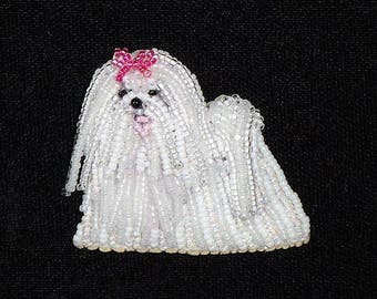Beaded MALTESE keepsake dog pin pendant art jewelry (Made to Order)