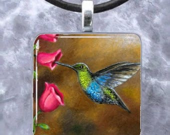 Handmade Glass Pendant Tray Earrings 571 bird Hummingbird Jewelry Necklace art painting by L.Dumas