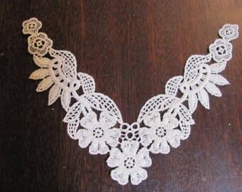 Off White 7 Applique Pieces, Heavy Floral Lace Trim, Corners of Neckline
