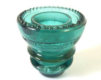 Vintage Hemingray 42 Dark Aqua Glass Insulator Blue