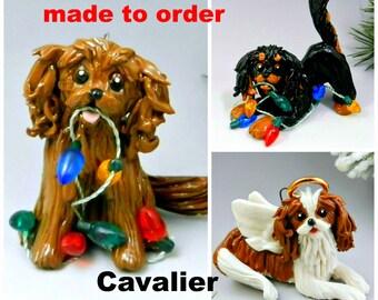 Cavalier King Charles Spaniel Made to Order Christmas Ornament Figurine Porcelain