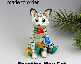 Egyptian Mau Cat Christmas Ornament Figurine Made to Order in Porcelain