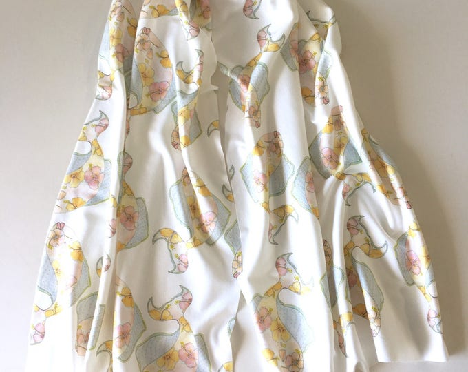 Organic cotton kiaulani tropical flower fish white background scarf sarong