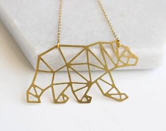 Bear Geometric Necklace | Large | ATL-N-178