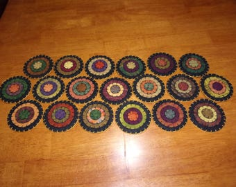Penny Rug Table Runner 9x22 Fall Colors
