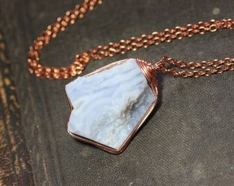 Blue Lace Agate Necklace Rough Nugget Copper Wire Wrapped Light Blue Gemstone Pendant Luxe Rustic Jewelry