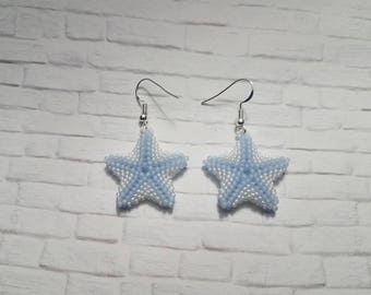 Starfish Earrings, Beaded Earrings, Beach Jewelry, Statement Earrings, Drop Earrings, Wedding Jewelry, Beach Wedding, Gifts For Her, Blue