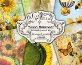 Printable, Journal Kit, Ephemera Pack, Junk Journal Kit, Sunflower Journal, Sunny Mornings, Digital Paper, Journal Pages, Calico Collage