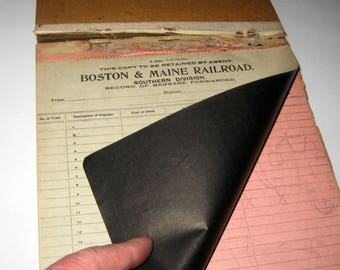 Vintage Railroad Baggage Forwarded Record Pad - Boston & Maine Railroad Southern Division
