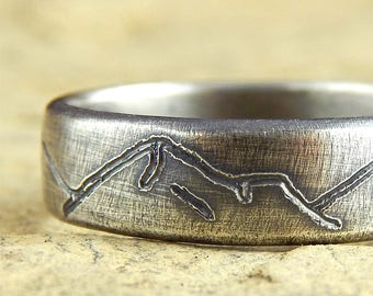 Mountains ring, new design! simple wedding band, choice of width - 4, 5, 6, 7, or 8 mm wide - solid sterling silver, engraved mountains.