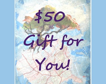 Gift Certificate for 50 Dollars USD to Life Needs Art - Gift Card, INSTANT DOWNLOAD, Printable Gift Certificate, Hudson Ohio