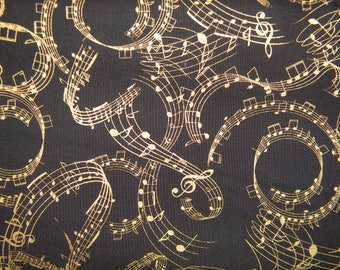 Musical Notes on Cotton Fabric in Black and Metallic Gold