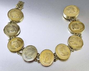Antique Italian Lava Cameo Bracelet, Hand Carved Lava Stone Bracelet, Silhouette Cameo, Victorian Bracelet, Grand Tour Souvenir Bracelet