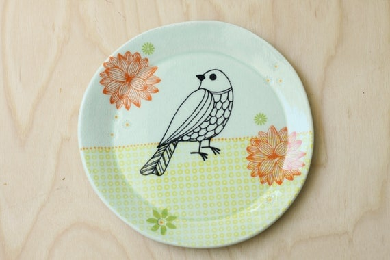 handmade porcelain lunch plate with bird