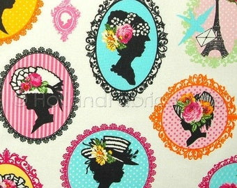 FINAL CLEARANCE SALE Cotton canvas fabric, kids fabric, childrens fabric, woman's silhouette fabric, extra wide fabric, Mademoiselle Fabric
