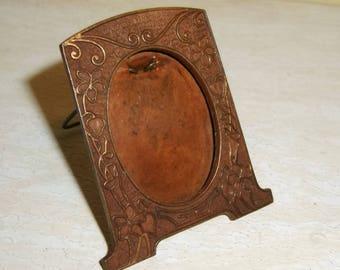 Antique Miniature FRAME Art Nouveau Sheffield Silver OVAL Copper Plated Easel Back