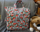 Cotton Shopping Tote Bag, Watermelon Slices N Stripes Print
