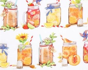 215741 white Robert Kaufman drink fabric Everyday Favorites Digital Print