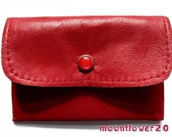 Deep Red Leather Business Card Holder With Dahlia Flower Design Lining -  ID Holder - Credit Card Holder - Gift Card Holder