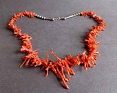 Branche Vintage collier de corail, bijoux corail naturel, collier corail Orange
