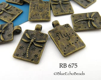 20mm Small Dragonfly Charm, Antiqued Brass, Antiqued Bronze Rectangle, Word Charm (RB 675) 8 pcs BlueEchoBeads