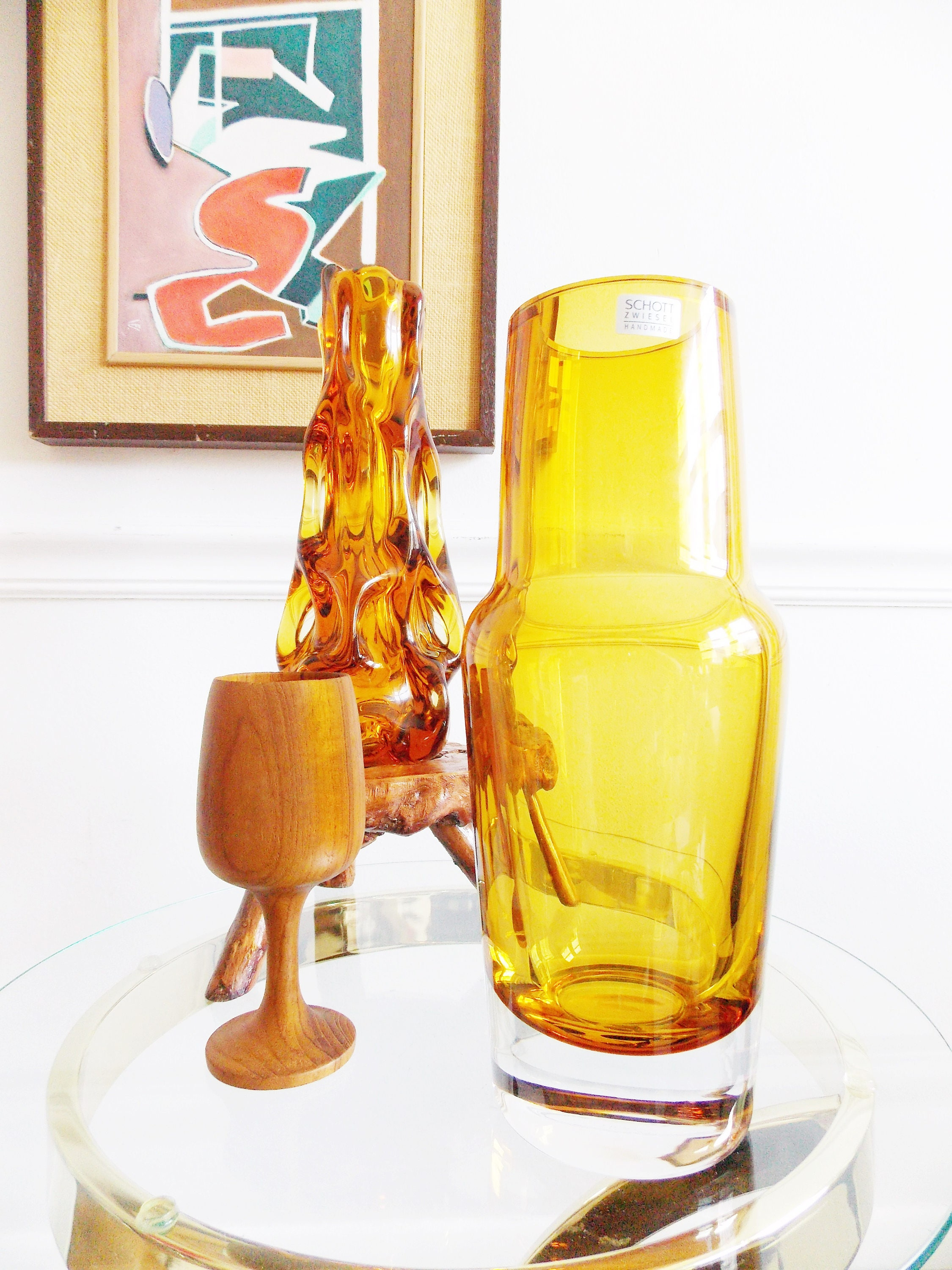 Modernist Schott Zwiesel gl vase/ Contemporary art gl vase ... on