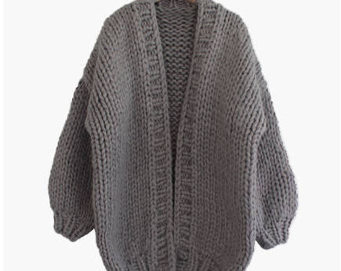 Hand knit oversize woman sweater chunky slouchy charcoal cardigan