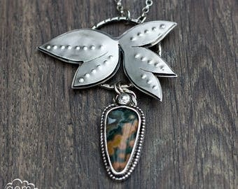 Sterling silver and Ocean Jasper statement necklace - And So She Escaped -