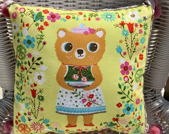Vintage Style Baby Girl Bear PILLOW Baby Nursery Ready-to-Ship