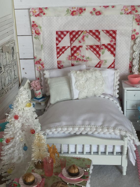 Miniature All White Shabby Style Pom Pom Edged Bedding and Bed -1:12 Dollhouse scale