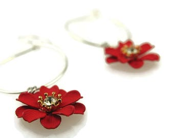 Grenadine Flower Dangle Earrings