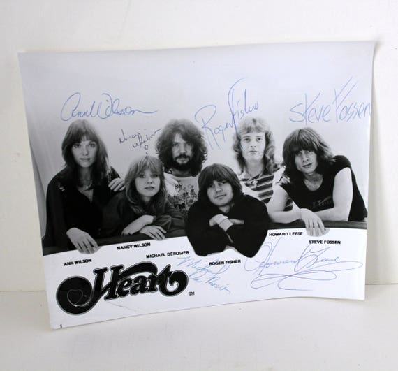 Vintage Original Heart Signed Promo Photo by All Band Members