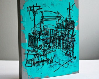 SATURDAY   bold line art of city buildings construction site in teal and gray on reclaimed wood, original artwork by Kathryn DiLego