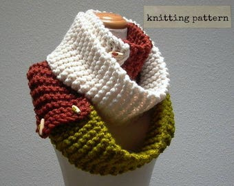 as you like it. knitting pattern convertible cowl neck scarf wardrobe . chunky knit button scarf pdf . easy beginner knit pattern tutorial