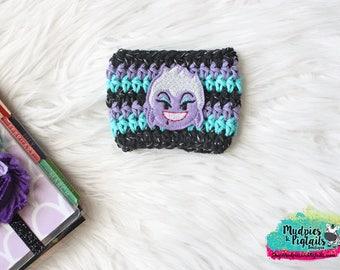 Villian Crochet Cup Cozy { Sea Witch } striped octopus, beach summer coffee, mermaid cup sleeve tea sleeve, mug starbucks, crochet