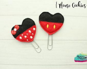 Mouse Ears Hair Clippies or Planner clips  { Mouse Cookies }  Choose style, birthday, vacation bow Hair Clip, Barette, No Slip