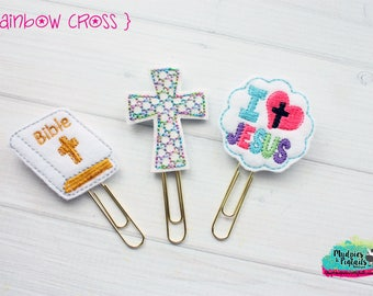 Planner Clip or Hair Clippies { Rainbow Cross } jesus, bible school, baby girl Summer Paper Clips, Stationary, Birthday party favors, kikkik