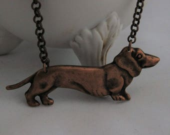 Dachshund Necklace Vintage Copper Doxie Necklace Dachshund Gifts Dachshund Jewelry Dog Lover Handmade  Dog Necklace Wiener Dog Necklace
