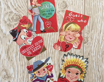 Set of 5 Vintage 1960s Valentine School Cards, Globe, Clown, Indian, Cowgirl