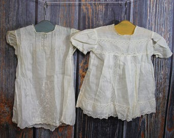Vintage BABY DRESSES- Embroidered Gowns with Pearl Buttons and Lace Trim & Smocking- Handmade Vintage Nursery Decor- Vintage Fabric