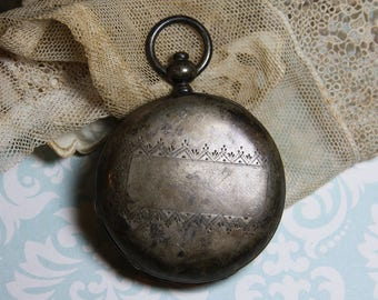 Vintage Silver Pocket Watch Case- Engraved Design- Found Object Jewelry or Art Supply Steampunk Pendant